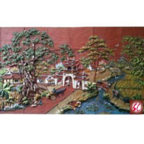 Tranh gốm cảnh cây đa cổng làng
