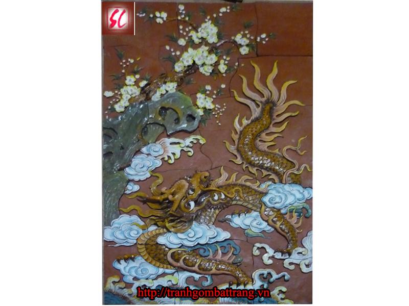 Tranh Tứ Linh Gốm Bát Tràng - Long (Rồng)